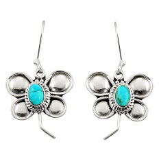 Clearance Sale- 2.24cts green arizona mohave turquoise 925 silver dragonfly earrings d38158