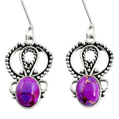 Clearance Sale- 925 sterling silver 6.03cts purple copper turquoise dangle earrings d38159