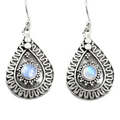 1.76cts natural rainbow moonstone 925 sterling silver dangle earrings d38164
