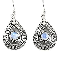 Clearance Sale- 1.77cts natural rainbow moonstone 925 sterling silver dangle earrings d38167