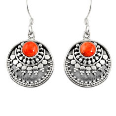 Clearance Sale- 2.10cts red copper turquoise 925 sterling silver dangle earrings jewelry d38177