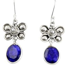 925 silver 9.47cts natural blue sapphire pearl dragonfly earrings d38178