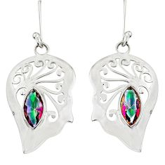925 silver 4.92cts natural multi color rainbow topaz dangle earrings d38188