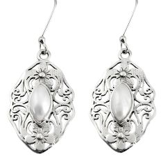 Clearance Sale- 5.13cts natural white pearl 925 sterling silver dangle earrings jewelry d38192