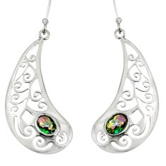 3.28cts multicolor rainbow topaz 925 sterling silver dangle earrings d38197