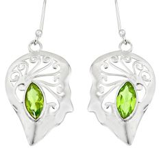 5.16cts natural green peridot 925 sterling silver earrings jewelry d38201