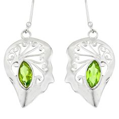 Clearance Sale- 5.38cts fine green peridot 925 sterling silver earrings jewelry d38202