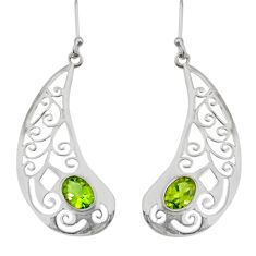 3.42cts natural green peridot 925 sterling silver earrings jewelry d38214