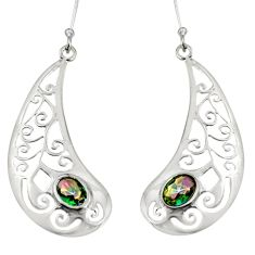 3.52cts multi color rainbow topaz 925 sterling silver earrings jewelry d38215