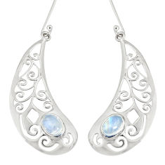 Clearance Sale- 925 sterling silver 3.27cts natural rainbow moonstone earrings jewelry d38220