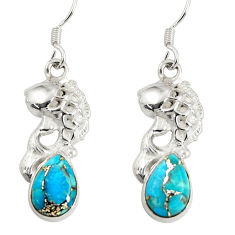 per turquoise 925 sterling silver fish earrings jewelry d38226