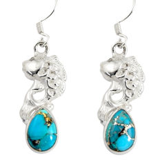 Clearance Sale- 5.30cts blue copper turquoise 925 sterling silver fish earrings jewelry d38227