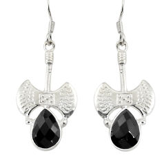 5.42cts natural black onyx 925 sterling silver dangle earrings jewelry d38232