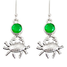 Clearance Sale- 4.02cts natural green chalcedony 925 sterling silver crab earrings d38241