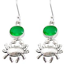 4.38cts natural green chalcedony 925 sterling silver crab earrings d38242