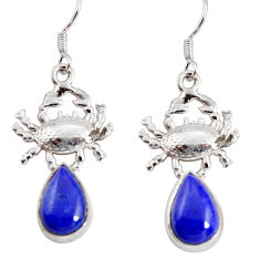 Clearance Sale- 6.55cts natural blue lapis lazuli 925 sterling silver crab earrings d38243