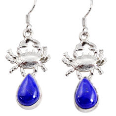 Clearance Sale- 8.70cts natural blue lapis lazuli 925 sterling silver crab earrings d38246