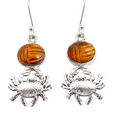 Clearance Sale- 925 sterling silver 7.84cts natural brown tiger's eye crab earrings d38248