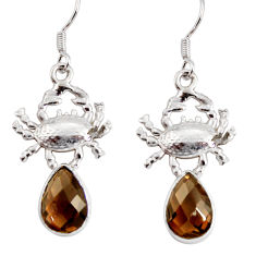Clearance Sale- 5.74cts brown smoky topaz 925 sterling silver crab earrings jewelry d38250