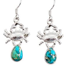 5.11cts blue copper turquoise 925 sterling silver crab earrings jewelry d38252