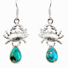Clearance Sale- 5.12cts blue copper turquoise 925 sterling silver crab earrings jewelry d38253