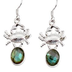 9.04cts natural blue labradorite 925 sterling silver crab earrings d38254