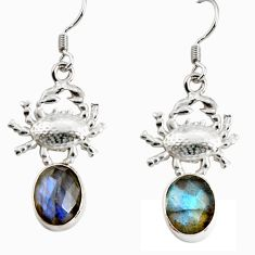 Clearance Sale- 925 sterling silver 8.83cts natural blue labradorite crab earrings d38255