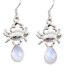 6.03cts natural rainbow moonstone 925 sterling silver crab earrings d38256