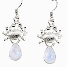 Clearance Sale- 6.26cts natural rainbow moonstone 925 sterling silver crab earrings d38257