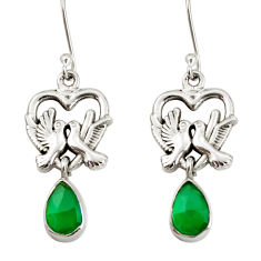 Clearance Sale- 5.24cts natural green chalcedony 925 sterling silver love birds earrings d38262