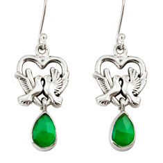 Clearance Sale- 4.68cts natural green chalcedony 925 sterling silver love birds earrings d38263