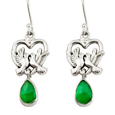 Clearance Sale- 925 sterling silver 4.68cts natural green chalcedony love birds earrings d38264