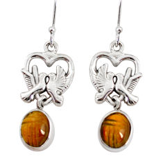 Clearance Sale- 8.46cts natural brown tiger's eye 925 sterling silver love birds earrings d38265