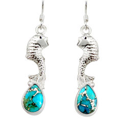 Clearance Sale- 5.29cts blue copper turquoise 925 sterling silver fish earrings jewelry d38267