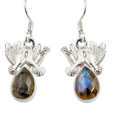 Clearance Sale- 5.35cts natural blue labradorite 925 sterling silver love birds earrings d38269