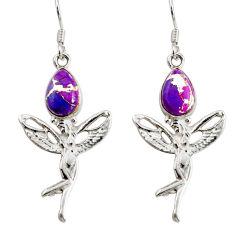 Clearance Sale- 5.52cts purple copper turquoise 925 silver angel wings fairy earrings d38273