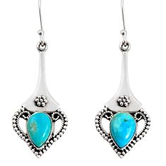5.95cts blue arizona mohave turquoise 925 silver love birds earrings d38279