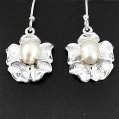 Clearance Sale- 3.86cts natural white pearl 925 sterling silver dangle flower earrings d38282