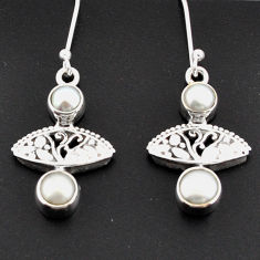 Clearance Sale- 4.90cts natural white pearl 925 sterling silver dangle earrings jewelry d38284