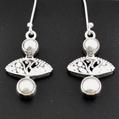 Clearance Sale- 925 sterling silver 4.47cts natural white pearl dangle earrings jewelry d38285