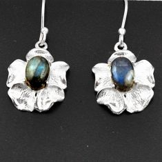 Clearance Sale- 4.23cts natural blue labradorite 925 sterling silver flower earrings d38287