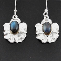 Clearance Sale- 4.26cts natural blue labradorite 925 sterling silver flower earrings d38288