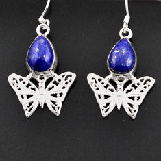 925 sterling silver 6.63cts natural blue lapis lazuli butterfly earrings d38289