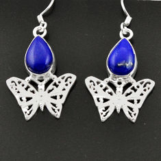 5.30cts natural blue lapis lazuli 925 sterling silver butterfly earrings d38291