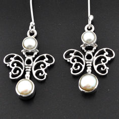Clearance Sale- 925 sterling silver 4.21cts natural white pearl butterfly earrings d38293
