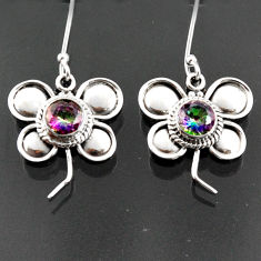 Clearance Sale- 2.44cts multi color rainbow topaz 925 sterling silver dragonfly earrings d38295