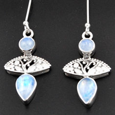 925 sterling silver 6.04cts natural rainbow moonstone dangle earrings d38300