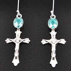 Clearance Sale- 4.19cts natural blue topaz 925 sterling silver holy cross earrings d38302