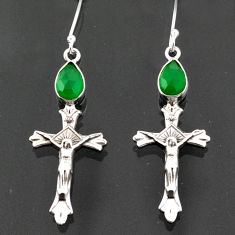 925 sterling silver 4.52cts natural green chalcedony holy cross earrings d38304