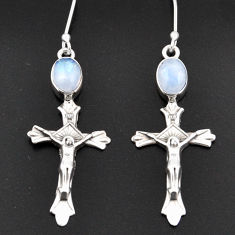 Clearance Sale- 4.53cts natural rainbow moonstone 925 sterling silver holy cross earrings d38315